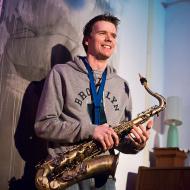 """Jazz w mieście / Derek Brown """"BEATbox SAX"""" / 20.04.2016 / Jezuicka Kuchnia Klasztorna, fot. Wojtek Kornet - zdjęcie 8/8"""